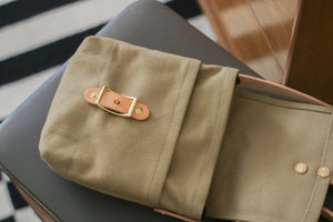 Small Cross Body Bag | Tan Heavy Cotton Canvas