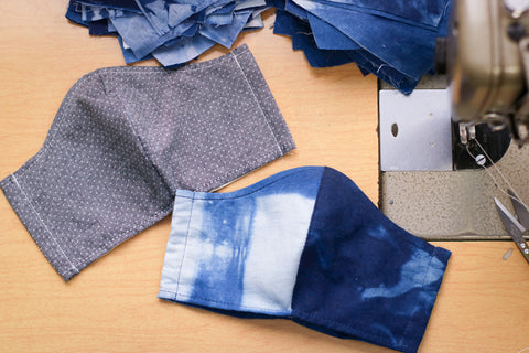 Cotton Face Mask | INDIGO SHIBORI + CHAMBRAY SASHIKO