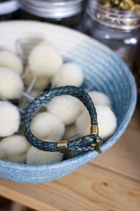 Leather Bracelet |  BRAIDED BOLO + SOFT INDIGO