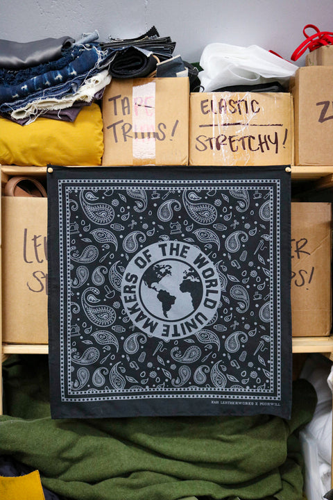 Standard Bandana - MAKERS OF THE WORLD UNITE | HELLA BLACK + COOL GREY