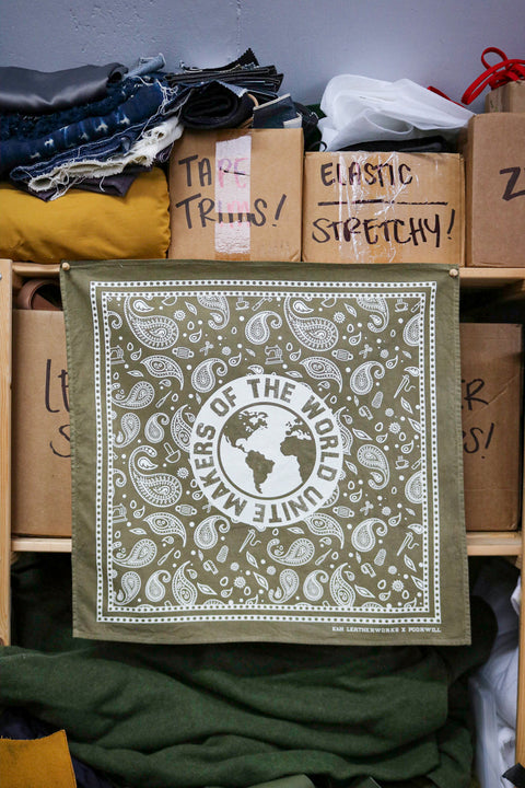 Standard Bandana - MAKERS OF THE WORLD UNITE | OLIVE TREE + ECRU