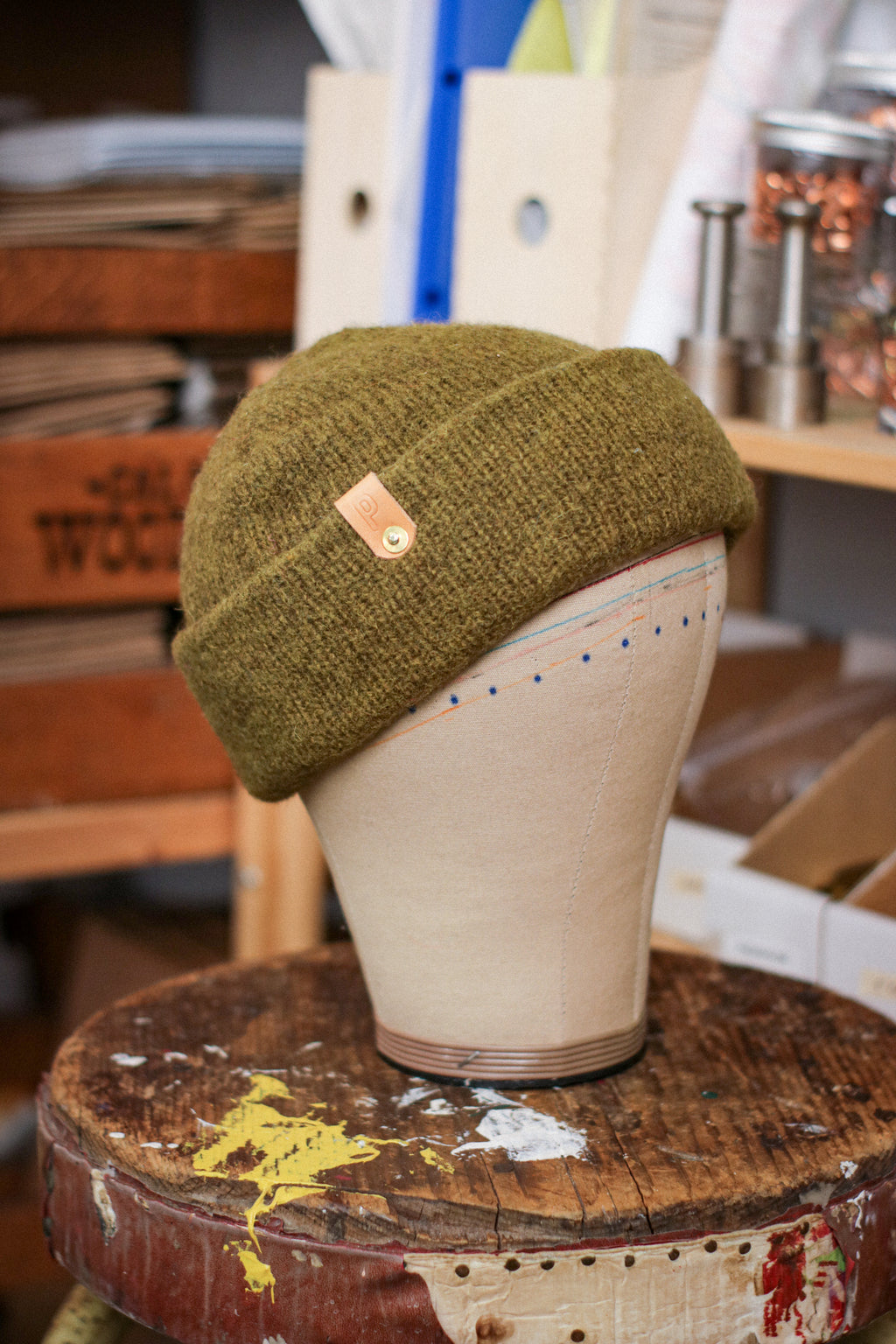 Wool Watch Cap | CROCODILE GREEN