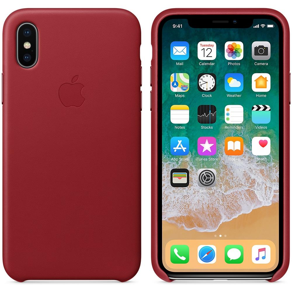 APPLE - Cover in Pelle per iPhone X Colore Rosso - ePRICE