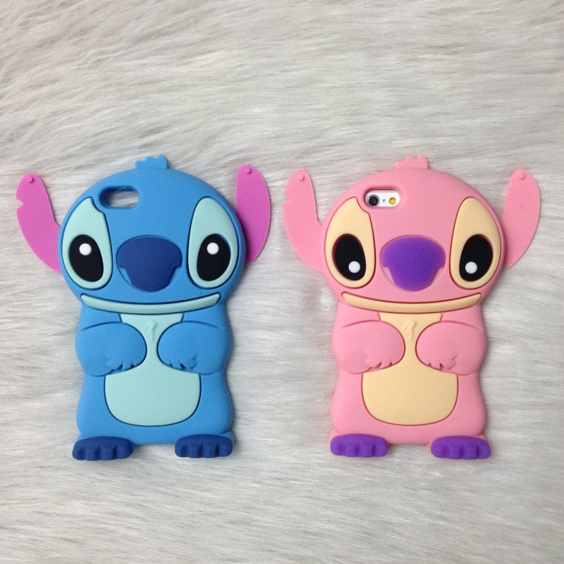Cartoon Stich Silicon Case 3D Cute Soft Silicone Cover For iphone