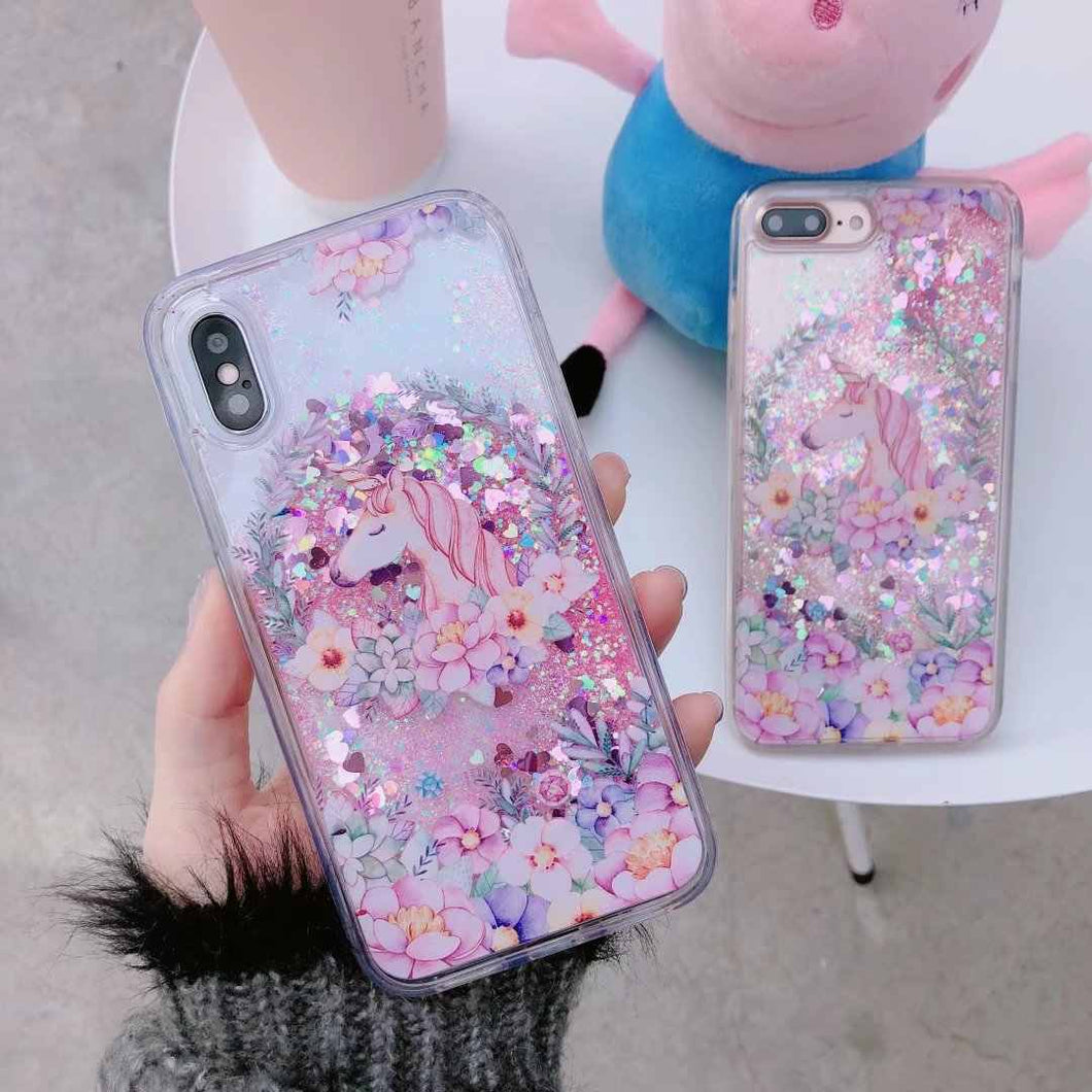 Glitter iPhone 6 custodia Unicorn Liquid