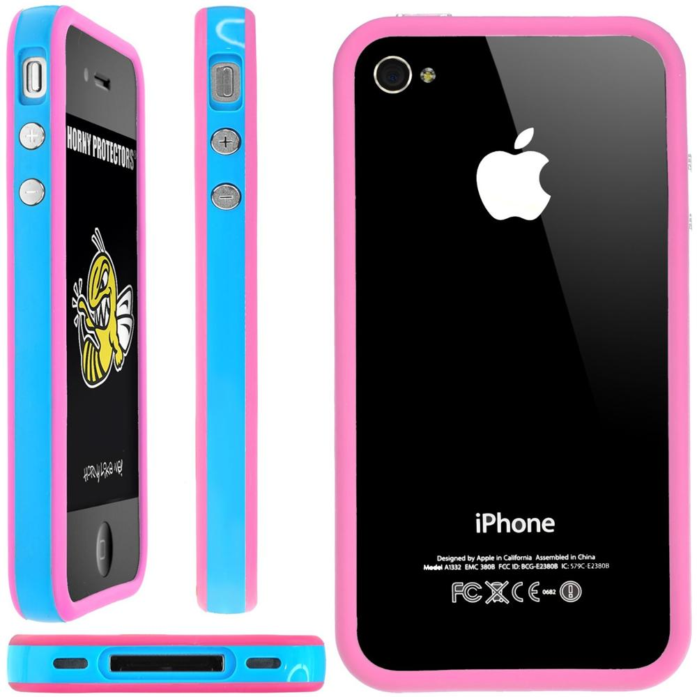 HORNY PROTECTORS - Custodia per Apple iPhone 4/4S bianco / blu