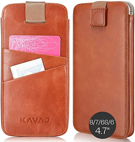 KAVAJ Custodia iPhone 8 iPhone 7 in Pelle Dallas Vera Pelle Cognac