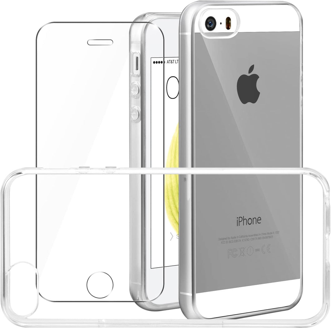 Leathlux Cover iPhone se/iPhone 5/5S Custodia + Pellicola