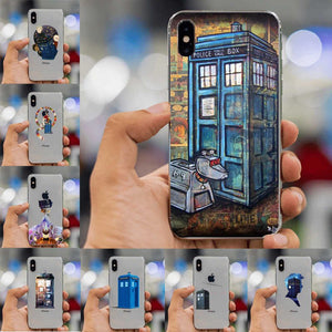 Tardis Box Doctor Who Black Soft Silicone Cover Iphone 8 7 6 6S