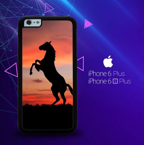Horse Silhouette On Red Sunset Y1880 custodia cover iPhone 6 Plus, 6S Plus