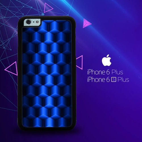 Abstract Blue Parallax Cubes Pattern E0932 custodia cover iPhone 6 Plus, 6S Plus