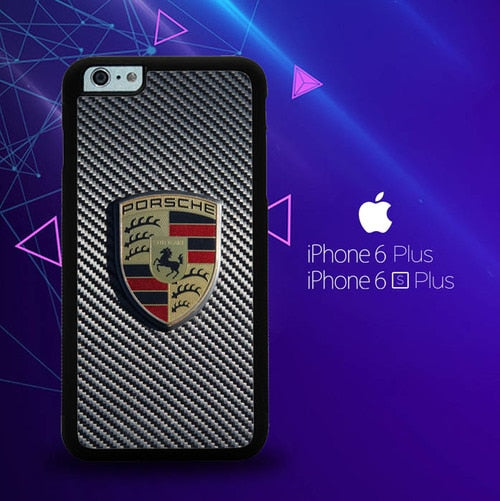Porsche Logo Carbon E1619 custodia cover iPhone 6 Plus, 6S Plus