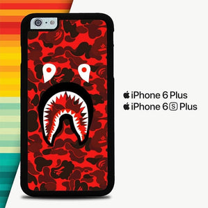 Bape Shark Red Camo P0759 custodia cover iPhone 6 Plus, 6S Plus