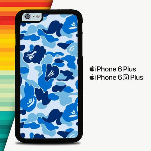 Bape Blue Camo P1176 custodia cover iPhone 6 Plus, 6S Plus