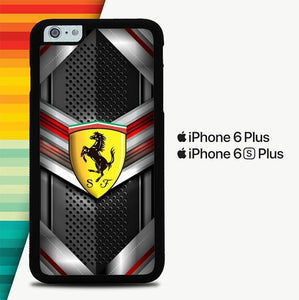 Ferrari Logo Cool Steel Background P1204 custodia cover iPhone 6 Plus, 6S Plus