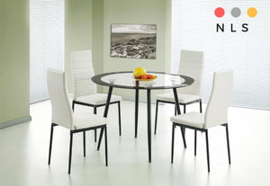 Acodia Dining Set Clear Glass & Black - North Lakes Sofas