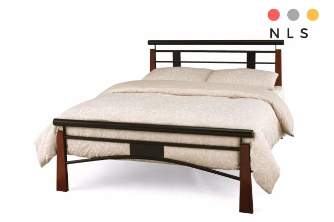 Armstrong Double/Kingsize Black bed with oak posts