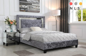 Augustina Bed Crushed Velvet & Mirror - North Lakes Sofas