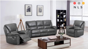Boston Leather Aire Suite In Grey - North Lakes Sofas