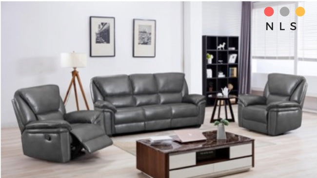 Boston Leather Aire Suite In Grey