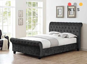 Crushed Velvet Sleigh Bed frame Collection - North Lakes Sofas
