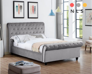 Celine Plain Velvet Bed - North Lakes Sofas