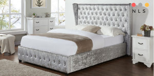 Diamond Crushed Velvet Bed - North Lakes Sofas