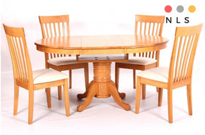 Leicester Extending Solid Rubberwood,Light Oak+ 4 Chairs - North Lakes Sofas