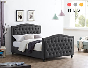Monroe Charcoal Fabric Bed - North Lakes Sofas