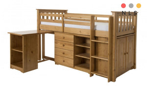 Porto Mid Sleeper, Single, Pine Antique, Wash Includes Pull-out Desk, Chest and Bookcase, Cupboard - North Lakes Sofas