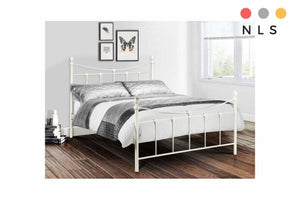 Rebecca Metal Bedframe Black/Gold,White - North Lakes Sofas