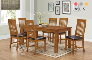 Solid Rubberwood, Walnut Table+6 Chairs - North Lakes Sofas