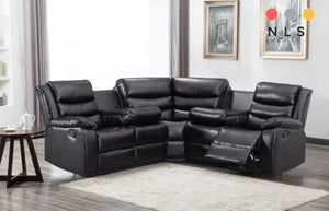 Washington Bonded Leather Corner Collection - With Drinks tray - North Lakes Sofas