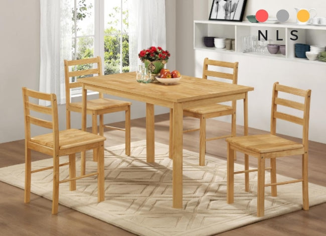 York Dining Set with 4 Chairs Natural Oak