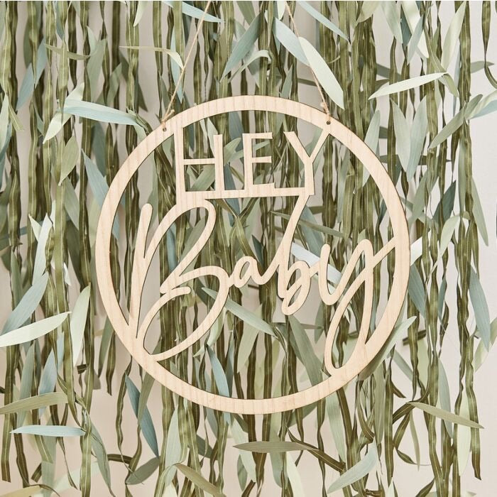 WOODEN HEY BABY SHOWER SIGN