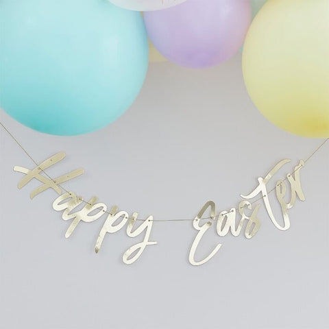 GOLD HAPPY EASTER BUNTING BANNER DECORATION