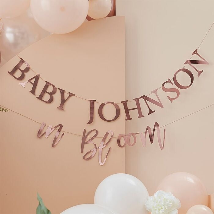 ROSE GOLD CUSTOMISABLE BABY SHOWER BUNTING