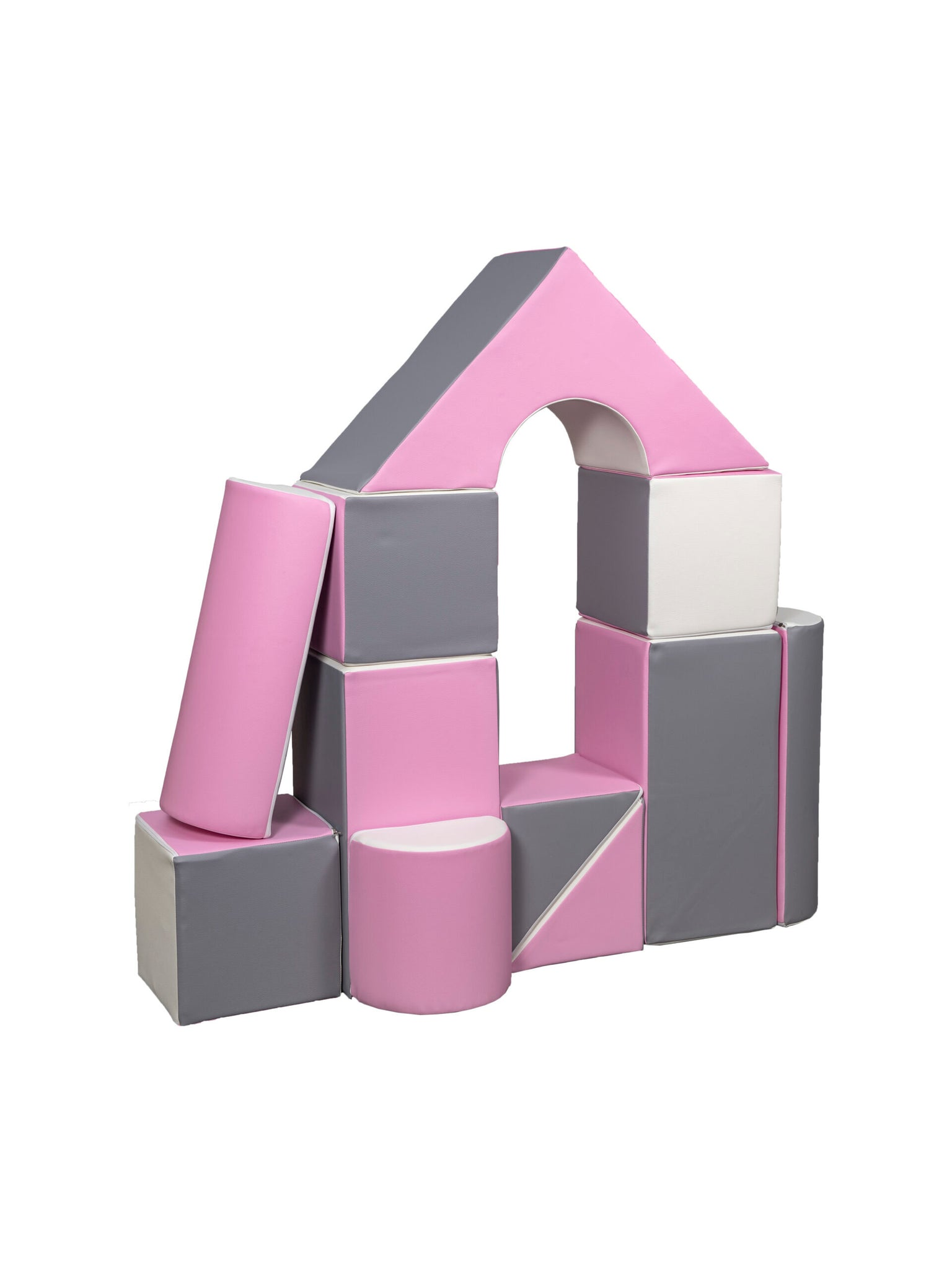 *PRE-ORDER* Pink & White Soft Play Building Castle Blocks