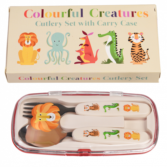 Colourful Creatures Cutlery Set in a Case