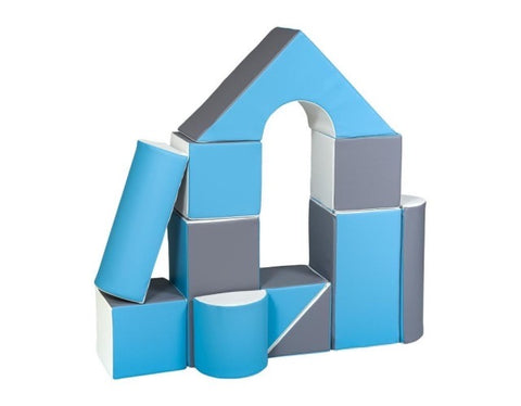 *PRE-ORDER* Blue & White Soft Play Building Castle Blocks