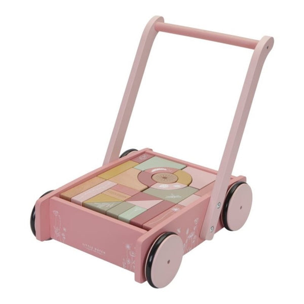 Little Dutch Baby Walker Wooden Block Trolley - Pink