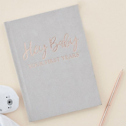 GREY SUEDE BABY MEMORY JOURNAL BOOK