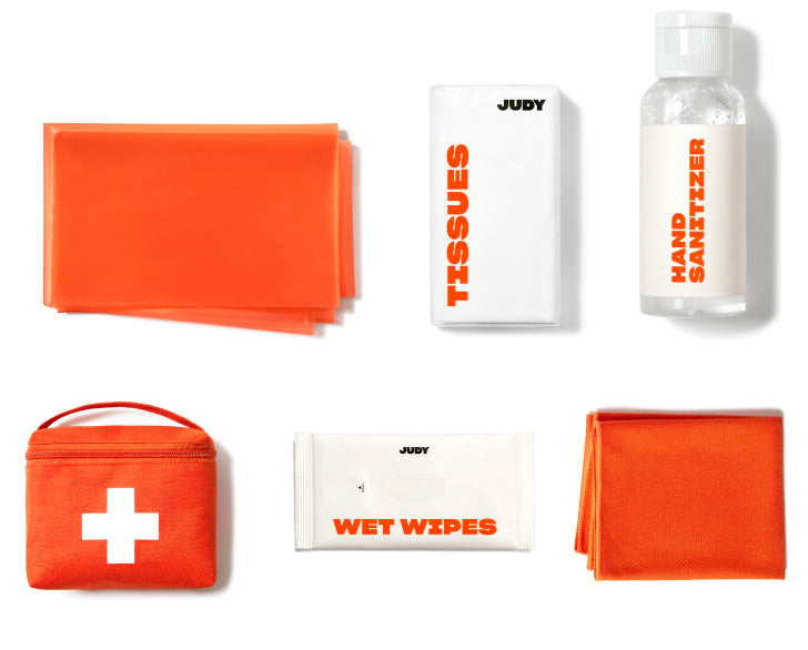 First aid products laid out in a grid