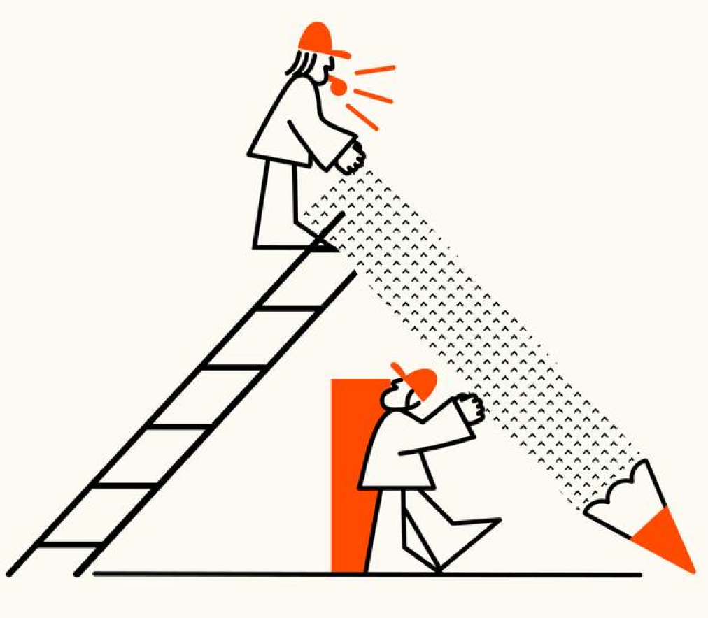 Illustrated characters going up and down a ladder