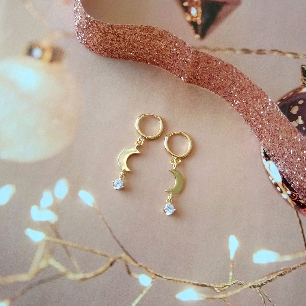 Boucles Lune et Cristal - (SD1695) - Moon and Cristal Earrings