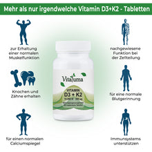 Laden Sie das Bild in den Galerie-Viewer, Vitamin D3 10.000 IE & Vitamin K2 200 µg - 365 Tabletten