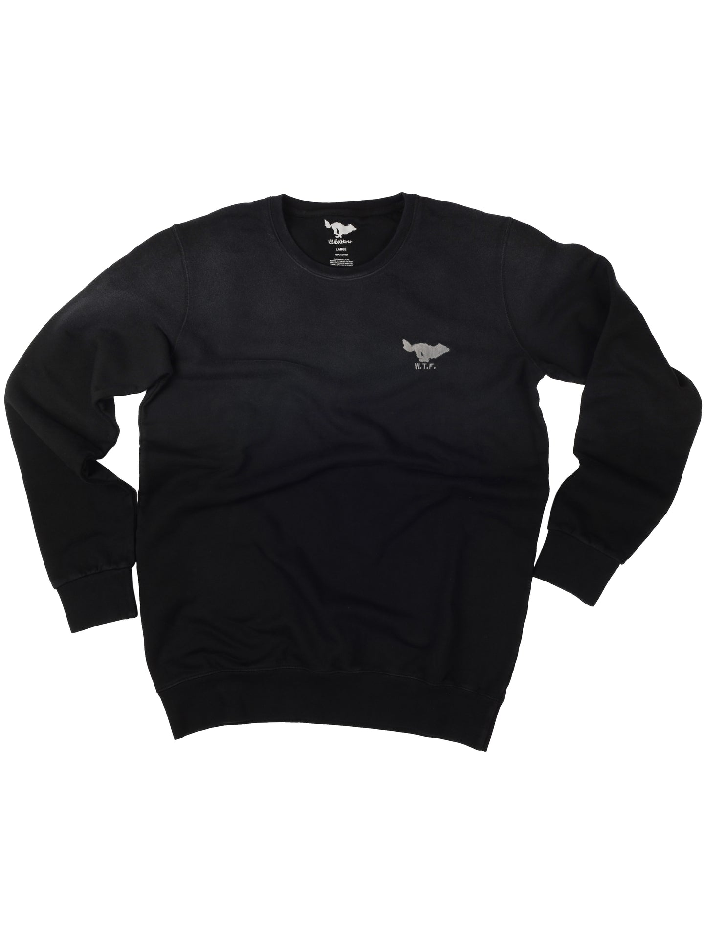 El Solitario Basic Embroidered Black Sweatshirt. Front