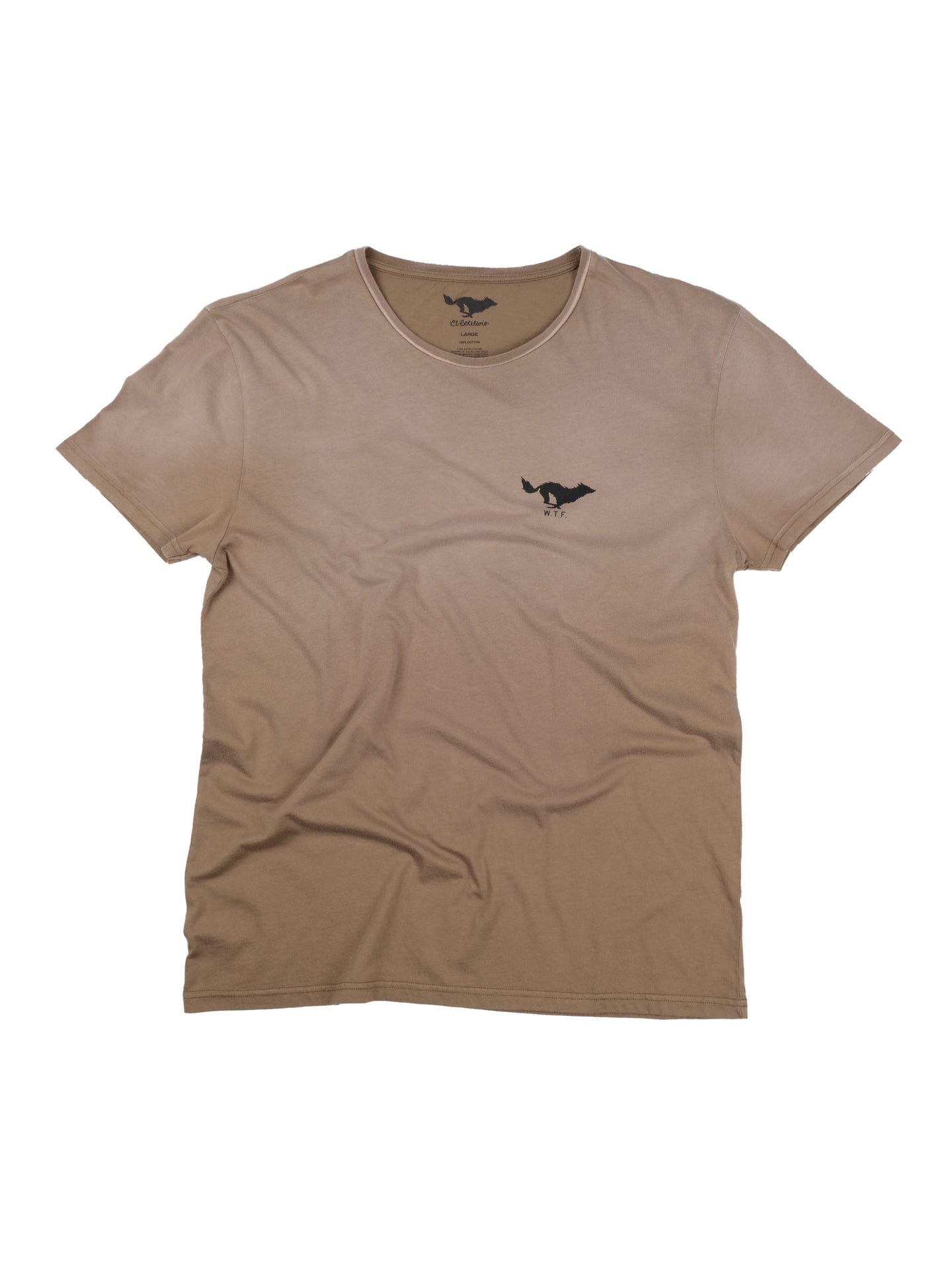 El Solitario Basic Faded Brown T-Shirt. Front