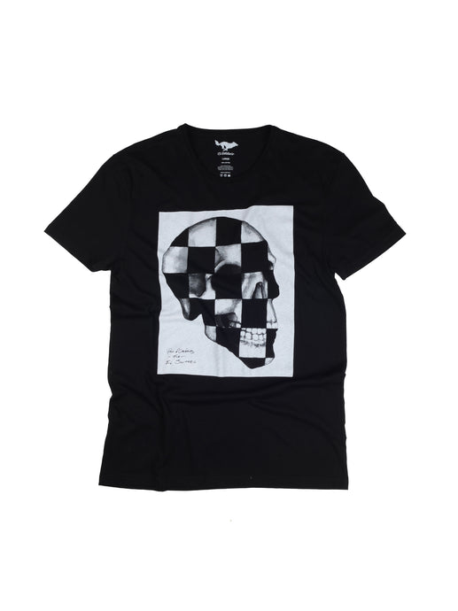 El Solitario Checker Skull T-Shirt. Front