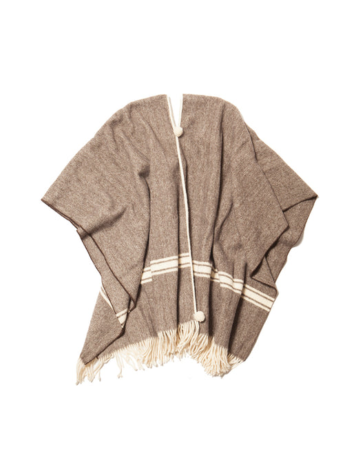 El Solitario Traditional Poncho White Stripe